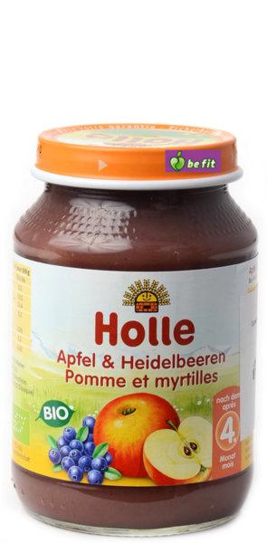 Holle Био бебешко  плодово пюре /ябълки и синя боровинка/ 4м, 190 гр.